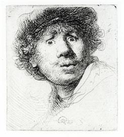 Rembrandt van Ryn, El pintor boquiabierto, 1630. Aguafuerte Tomado de Arte linio